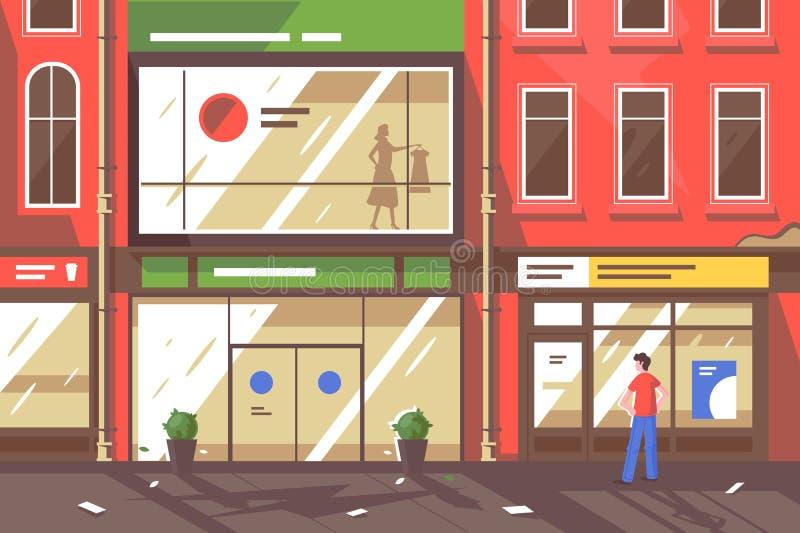 Flacher junger Mann auf Straße mit Geschäftsfenstern vektor abbildung
