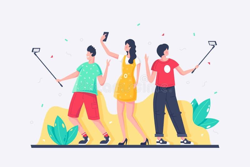 Flacher junger Mann, Frau, jeder nimmt selfies mit Handy stock abbildung