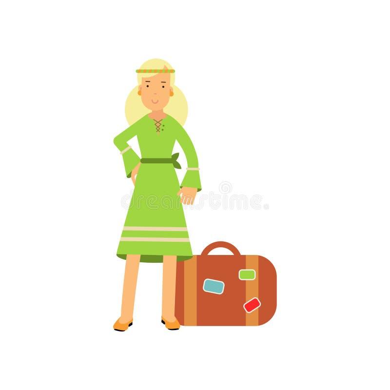 Flacher Karikaturblondine-Hippiecharakter, der nahe Retro- Koffer steht Glückliche Blumenkinderfrau im grünen Kleid stock abbildung