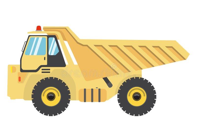 Flacher Kipplaster der Karikatur Selbstillustration des schweren Fahrzeugs des Vektors Autoikone lokalisiert lizenzfreie abbildung
