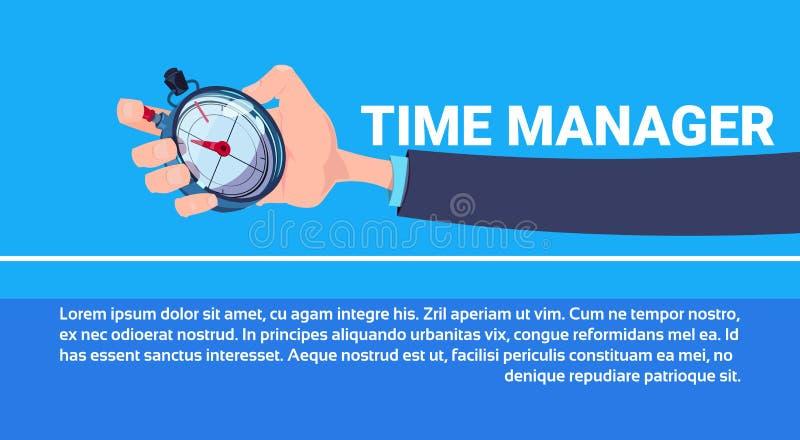 Flacher Kopienraum des menschlichen Handgriffstoppuhrzeitmanagerchronometertimer-Konzeptes horizontal lizenzfreie abbildung