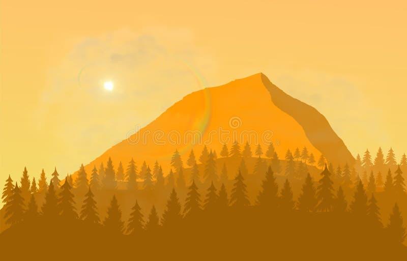 Flacher Landschaftsdesignnachmittag und -berg stockfotografie