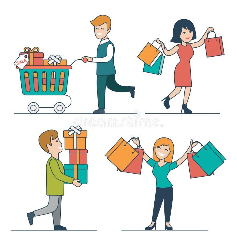 Flacher linearer Kauf-Warenkorbsatz der glücklichen Menschen stock abbildung