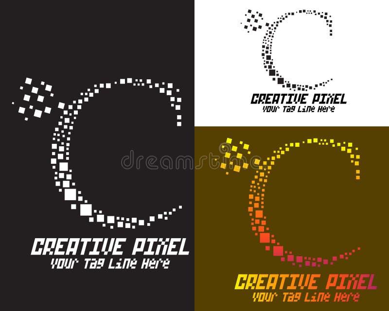 Flacher Logoentwurf des kreativen Pixels lizenzfreie abbildung