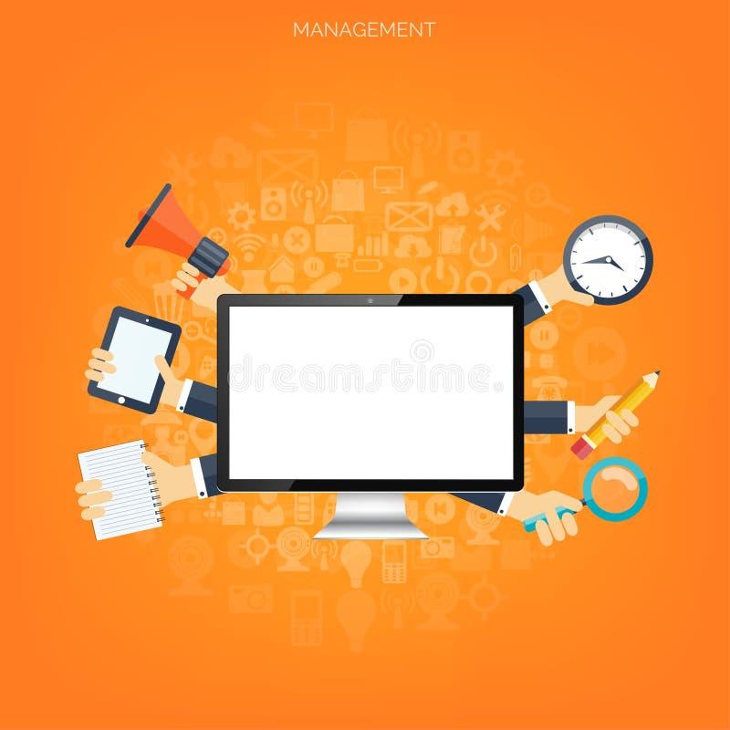 Flacher Managementhintergrund Geschäft und Marketing Geldherstellung Teamwork- und Zeitplanungskonzept vektor abbildung