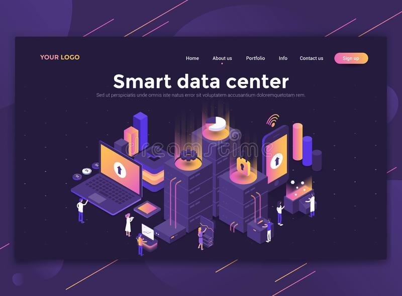Flacher moderner Entwurf der Websiteschablone - Smart-Rechenzentrum stock abbildung