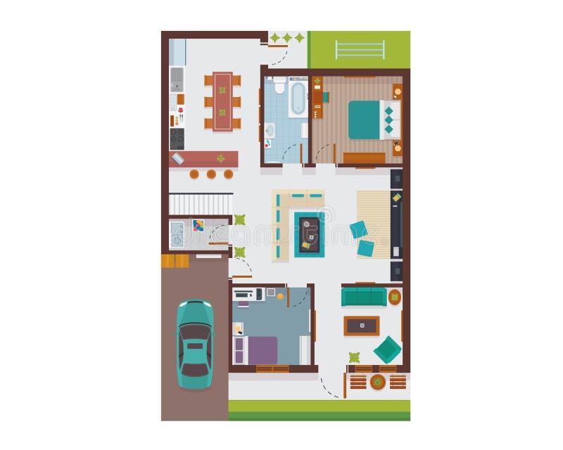Flacher moderner Familien-Haus-Innenraum und Raum-Raum-Grundriss von der Draufsicht-Illustration lizenzfreie abbildung