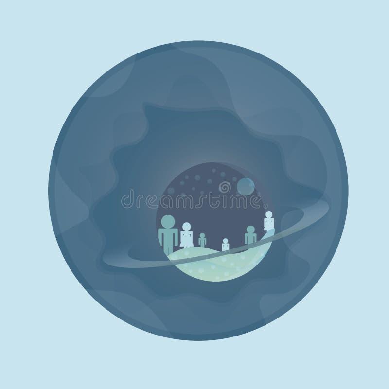Flacher Planet, abstrakter Begriff des Planeten Fantastische Welt Auch im corel abgehobenen Betrag stock abbildung