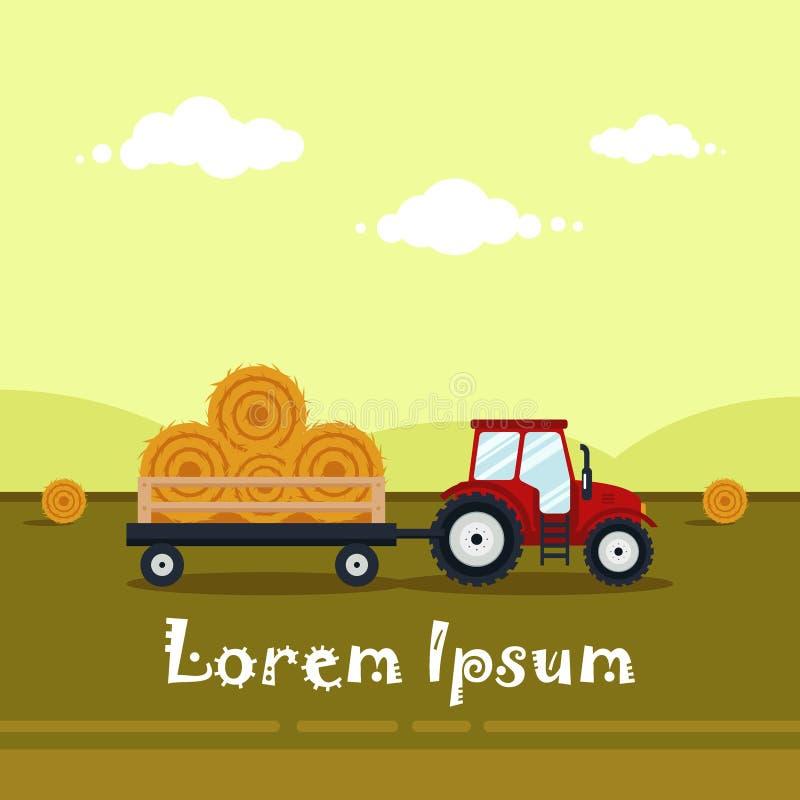 Flacher roter Traktor mit einem Warenkorbheu stock abbildung