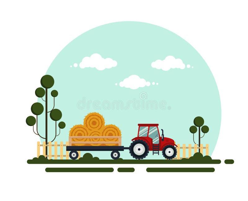 Flacher roter Traktor mit einem Warenkorbheu Die Transporte der landwirtschaftlichen Maschinerie für Bauernhof mit Heuschober - v vektor abbildung