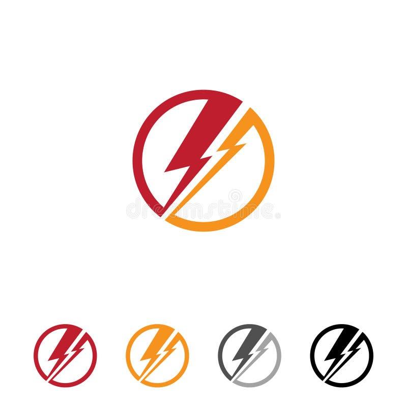 Flacher runder Donner für Netz oder APP-Symbol mit unterschiedlicher Farbe stock abbildung