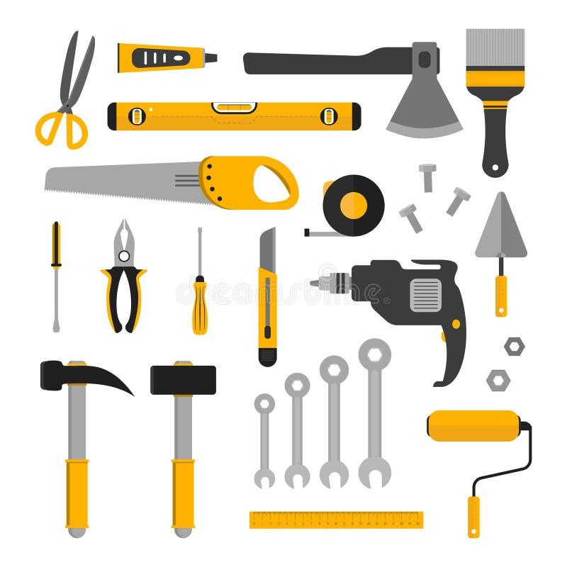 Flacher Satz Arbeitsgeräte stock abbildung
