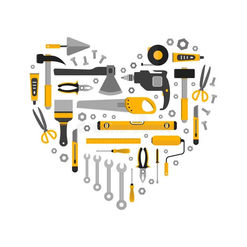 Flacher Satz Arbeitsgeräte in der Herzform vektor abbildung