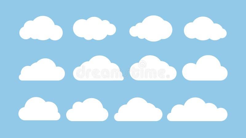 Flacher Satz der Karikatur weiße Wolken lokalisiert auf blauem Hintergrund Abstraktes Elementkonzept Auch im corel abgehobenen Be vektor abbildung