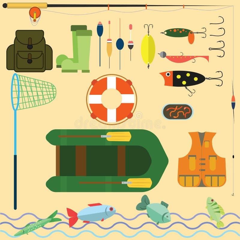 Flacher Satz für die Fischerei lizenzfreies stockfoto