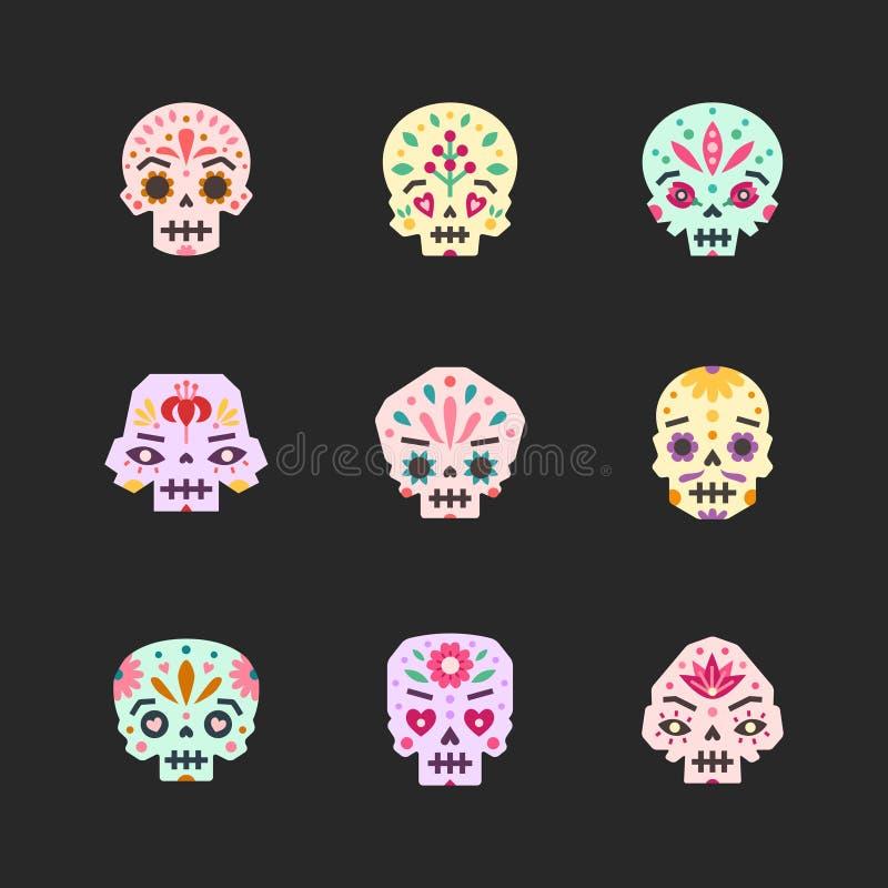 Flacher Schädelvektor-Ikonensatz Mexikanischer Tag des Todes Erster Teil stock abbildung