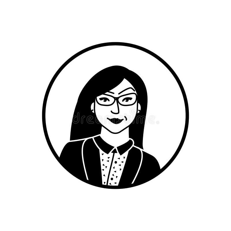Flacher Schwarzweiss-Avatara des schönen asiatischen Mädchens mit Gläsern vektor abbildung