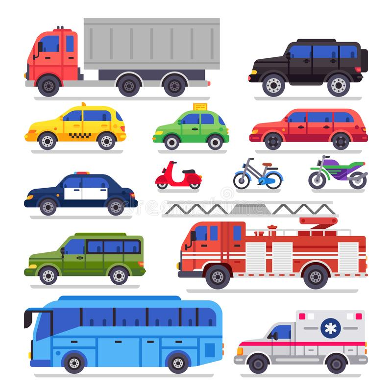 Flacher Selbsttransport Stadtstraßenauto, -fahrrad und -motorrad Krankenwagenauto, Löschfahrzeug und Stadttransporterbus lokalisi stock abbildung
