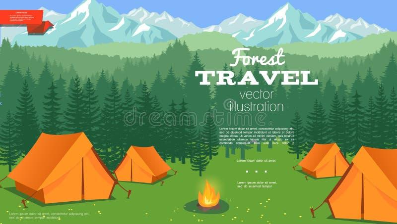 Flacher Sommer-kampierende Schablone stock abbildung