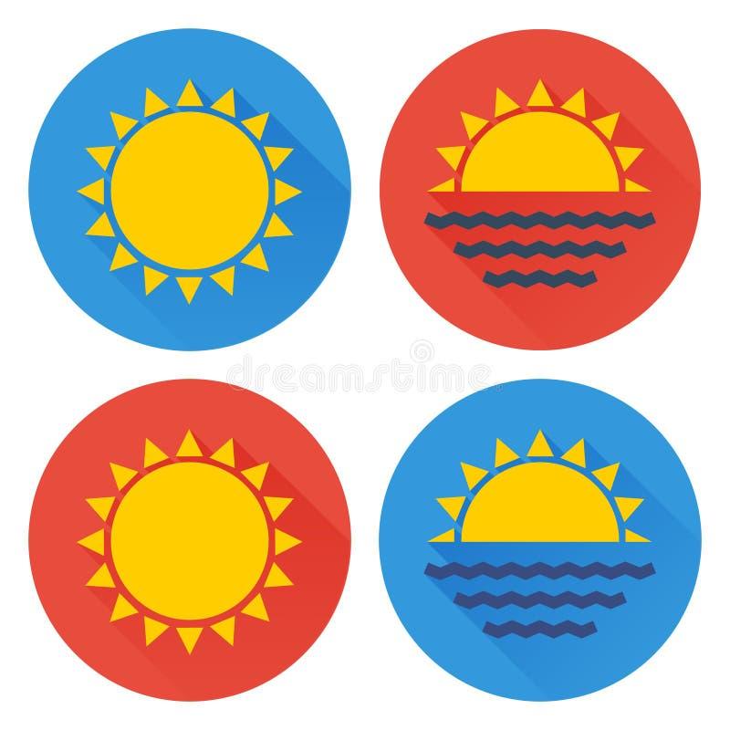 Flacher Sonnenikonensatz stock abbildung