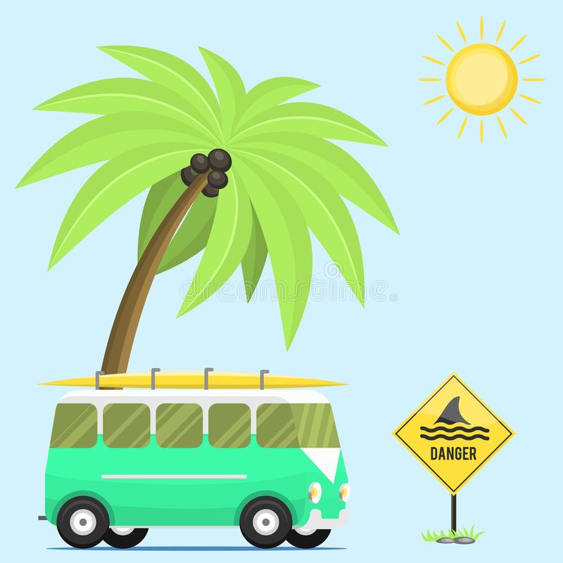 Flacher Transport der Lagerbewohnerurlaubsreiseautosommernaturhintergrundfeiertagsanhängerhausvektor-Illustration stock abbildung