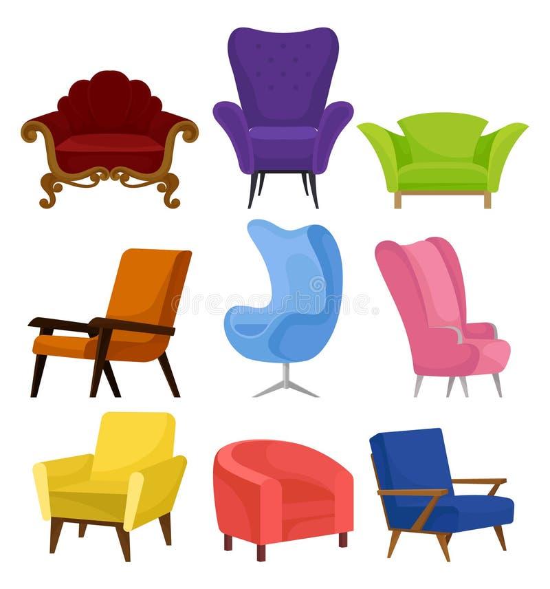 Flacher vecrtor Satz gemütliche Lehnsessel Retro- und moderne Stühle mit weicher Polsterung Möbel für Wohnzimmer vektor abbildung
