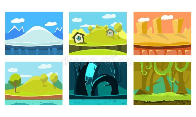 Flacher vectoe Satz von 6 Hintergründen für bewegliches Spiel Szenen mit Eisberg, Sandwüste, Wald, Dschungel und grünen Hügeln stock abbildung