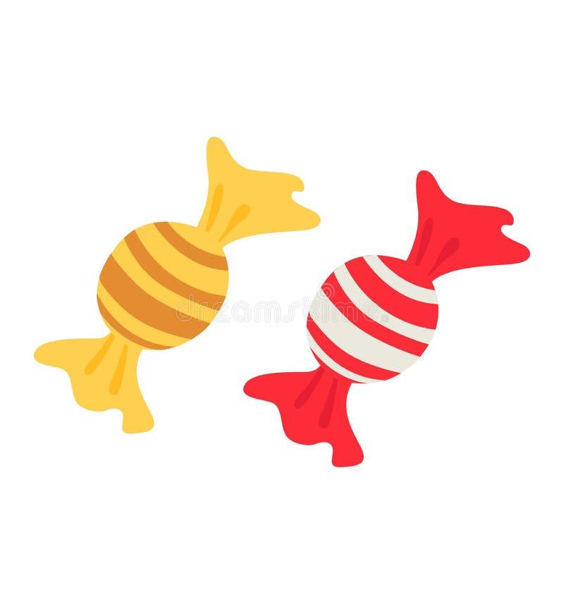 Flacher Vektor der Süßigkeitsikone lokalisiert auf weißer Weihnacht und neuem Jahr stock abbildung