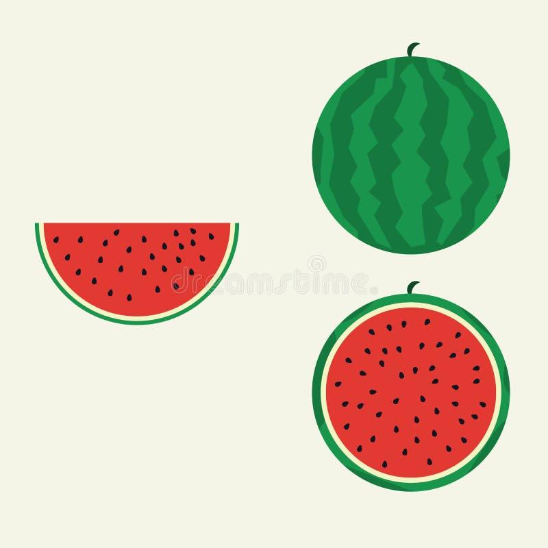 Flacher Vektor der Wassermelone vektor abbildung