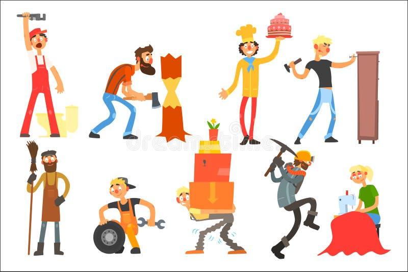 Flacher Vektor eingestellt mit Leuten von verschiedenen Berufen Klempner, Holzfäller, Konditor, Möbelhersteller, Hausmeister, A stock abbildung
