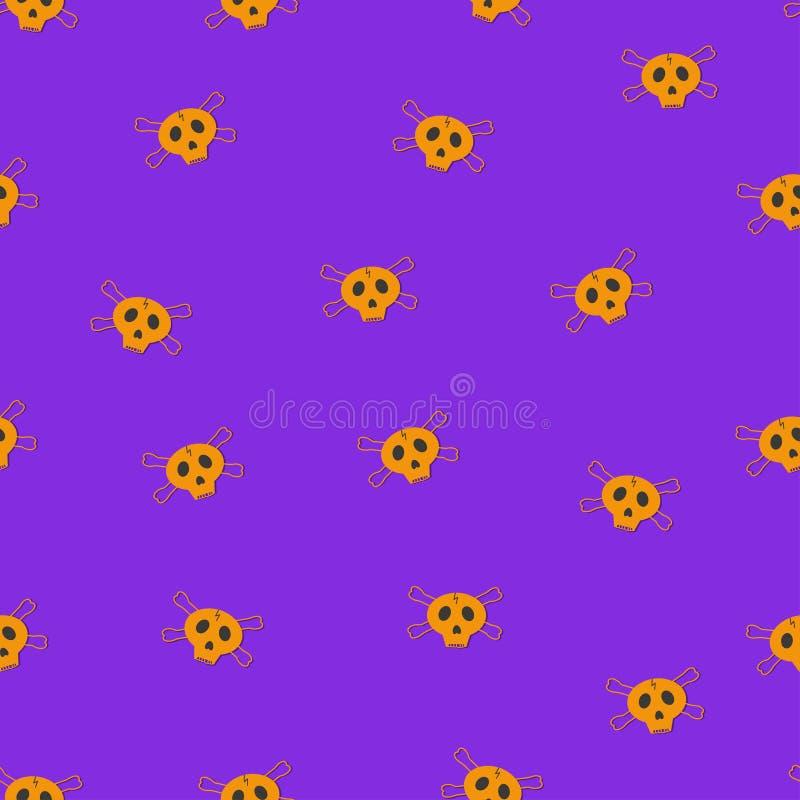 Flacher Vektor Nahtloses Muster der orange Schädel auf purpurrotem Hintergrund lizenzfreie abbildung
