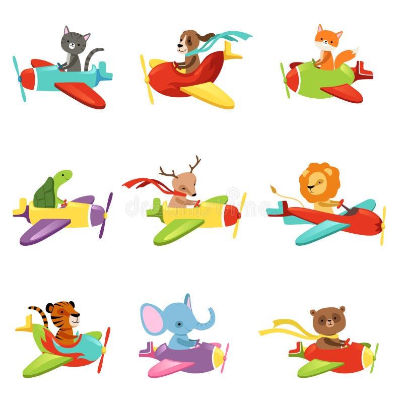 Flacher Vektor stellte mit den netten Tieren ein, die in bunte Flugzeuge fliegen Zeichentrickfilm-Figuren von inländischen und wi lizenzfreie abbildung