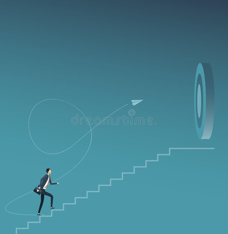 Flacher Vektorgeschäftsmannfokus und Gehen zum Unternehmensziel-Zielkonzept vektor abbildung