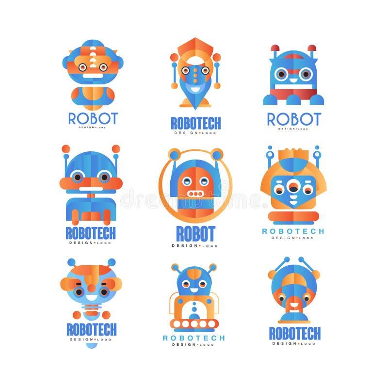 Flacher Vektorsatz abstrakte Logoschablonen mit Robotern Entwicklung der künstlichen Intelligenz und Robotech-Thema vektor abbildung
