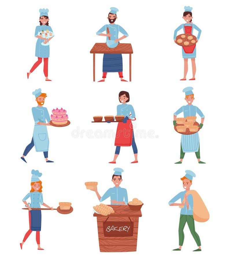 Flacher Vektorsatz Berufschefs oder Bäcker in den verschiedenen Aktionen Karikaturleutecharaktere in der Uniform des Chefs s stock abbildung