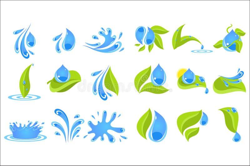 Flacher Vektorsatz blaue Tropfen und spritzt mit grünen Blättern Elemente für Logo, Promoplakat oder Aufkleber der Flasche mit lizenzfreie abbildung