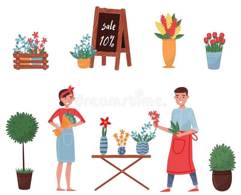 Flacher Vektorsatz Blumenladenelemente Nette Anlagen für Hauptdekor, blühende Blumen, Floristen Mann und Frau lizenzfreie abbildung