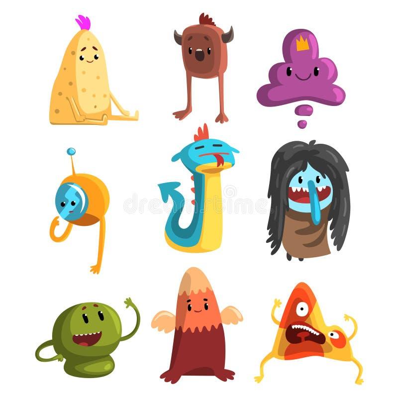 Flacher Vektorsatz der Karikatur lustige Monster Fantastische Geschöpfe mit netten Gesichtern Design für T-Shirt Druck, Postkarte lizenzfreie abbildung
