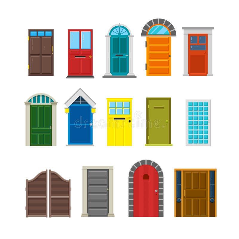 Flacher Vektorsatz der vorderen Haustüren stock abbildung