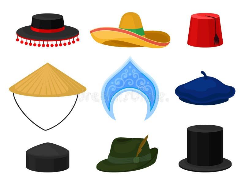 Flacher Vektorsatz des verschiedenen nationalen Kopfschmucks Traditioneller Headwear Mann und weibliche Zusätze lizenzfreie abbildung