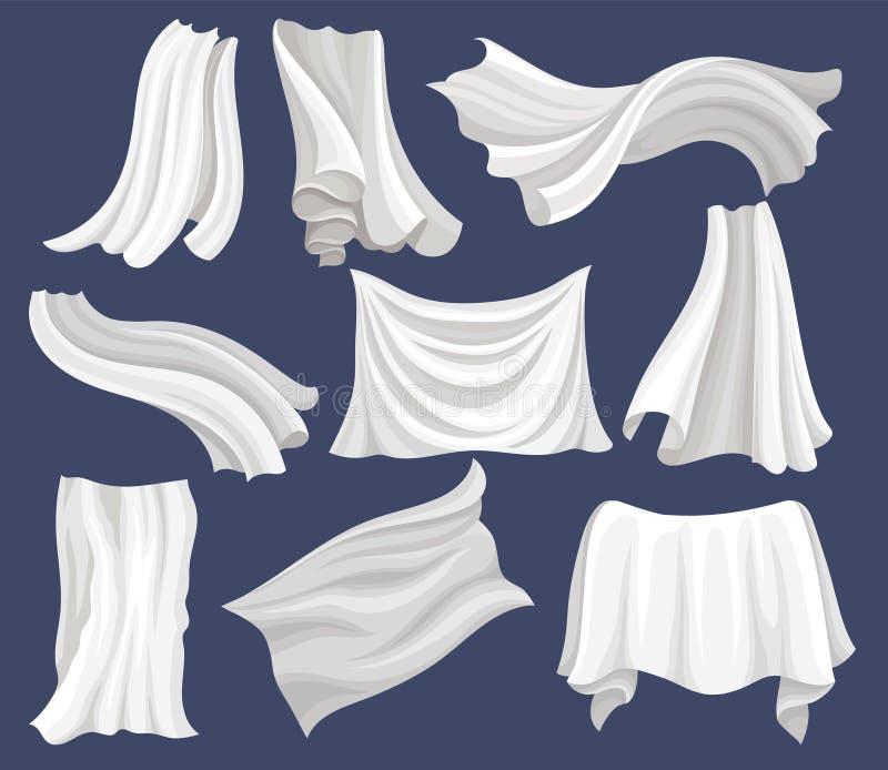 Flacher Vektorsatz des weißen Stoffes Silk Bettlaken Vorhänge, die auf den Wind fliegen Elemente für Plakat oder Fahne des Gewebe lizenzfreie abbildung