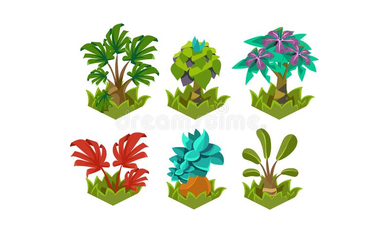 Flacher Vektorsatz fabelhafte Anlagen der Karikatur Naturlandschaftselemente Tropische Bäume Design für die Fantasie beweglich od stock abbildung