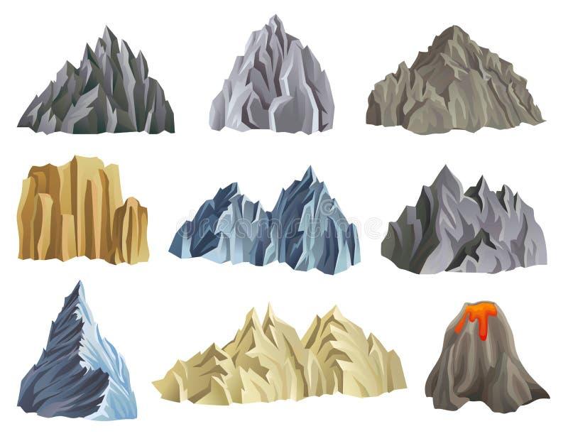 Flacher Vektorsatz Gebirgs- und Vulkanschattenbilder Bergsteigenthema Naturlandschaftselement für bewegliches Spiel oder vektor abbildung
