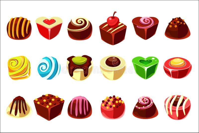 Flacher Vektorsatz geschmackvolle Süßigkeiten mit verschiedener Füllung Köstliche Schokoladenbonbons im unterschiedlichen Formbal lizenzfreie abbildung