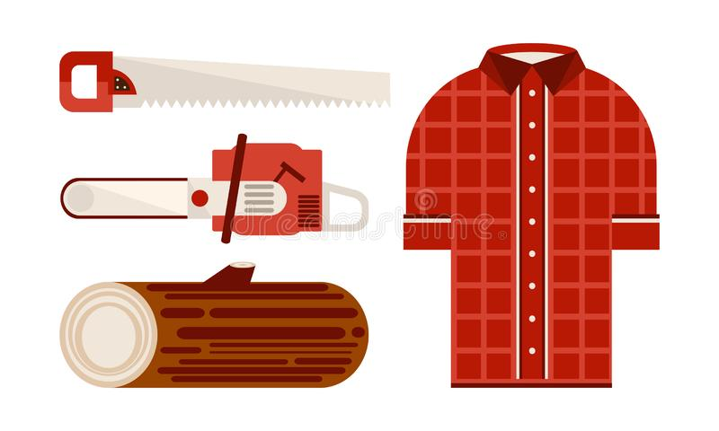 Flacher Vektorsatz Ikonen bezogen auf Holzfällerthema Kariertes Hemd, hölzerne Klotz- und Holzbearbeitungswerkzeuge elektrisch un vektor abbildung