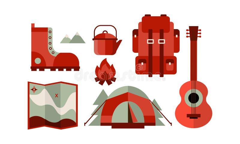 Flacher Vektorsatz Ikonen bezogen auf kampierendem Thema Reiserucksack, -zelt und -karte, -gitarre, -stiefel, -kessel und -lagerf vektor abbildung