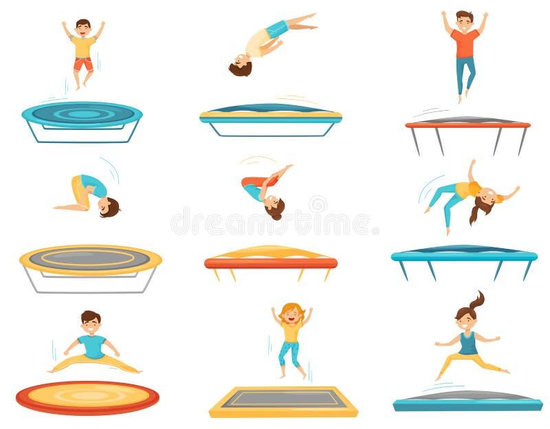 Flacher Vektorsatz Kinder, die auf Trampolinen springen Glückliche Jungen und Mädchen, die Spaß haben Aktive Freizeit Kindererhol vektor abbildung