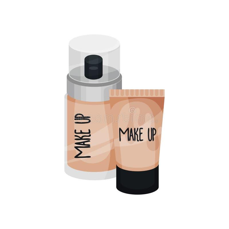 Flacher Vektorsatz kosmetische Produkte Gesichtsabdeckstift für Make-up Pumpenflasche für Gesichtssahne Flasche und Rohr Schönhei lizenzfreie abbildung