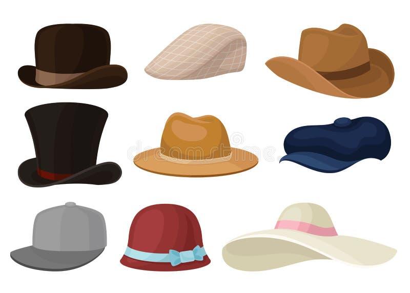 Flacher Vektorsatz Mann- und Frauenhüte Stilvoller Mann und weiblicher Headwear Baseballmütze und elegantes Panama Modethema lizenzfreie abbildung
