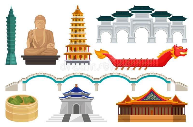 Flacher Vektorsatz nationale kulturelle Symbole Taiwans Berühmte Architektur und Touristenattraktionen, asiatisches Lebensmittel, lizenzfreie abbildung